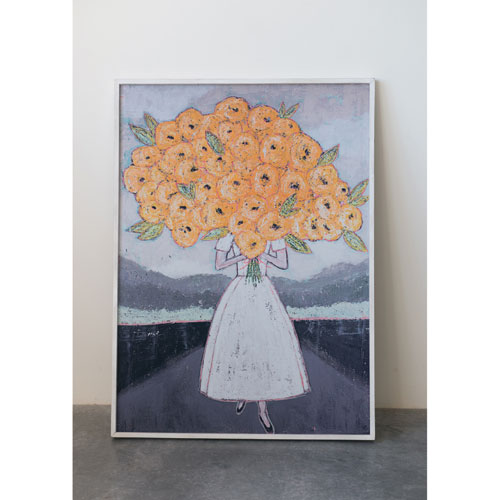 Gallery Girl Holding Flowers Wood Framed Wall Decor