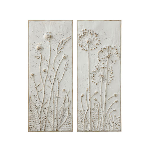 Chateau White Metal Wall Decor with Flowers - Set of 2