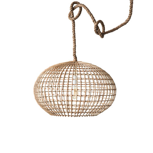 Woven Roots Round Wicker Pendant Light with Thick Rope Cord