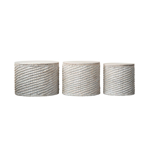 Shoreline Whitewashed Woven Water Hyacinth Tables with Mango Wood Tops - Set of 3