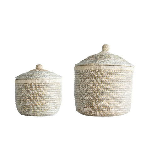 Shoreline Whitewashed Woven Baskets with Lids - Set of 2