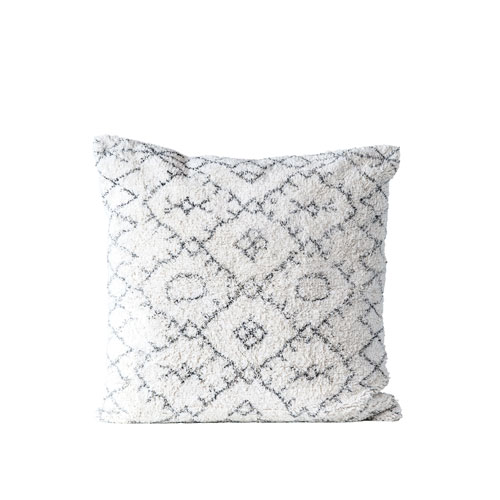 Terrain Black and White Square Cotton Tufted Pillow