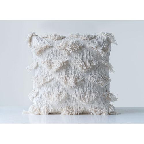 Sonoma Embroidered White Square Cotton Pillow with Eyelash Fringe