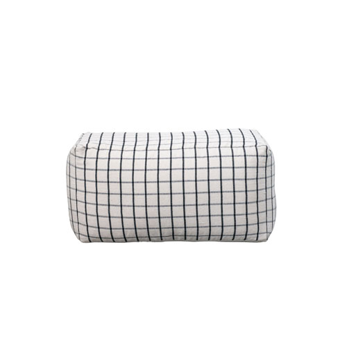 Sonoma Cream with Black Grid Design Cotton Blend Pouf
