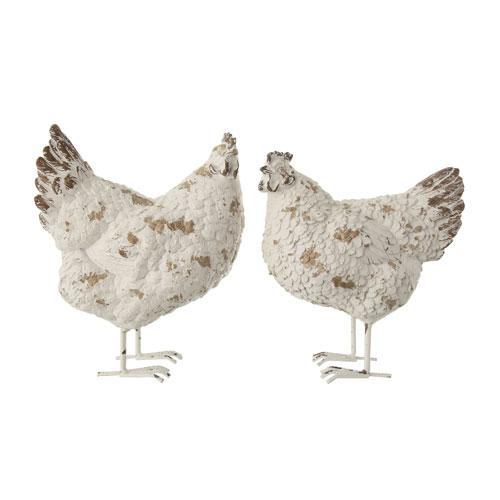 Backyard Farmer Distressed White Resin Hen Figurine with Metal Feet - Set of 2