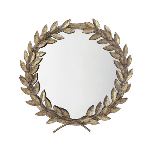 Chateau Round Antique Gold Metal Laurel Wreath Wall Mirror