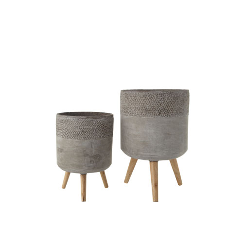 Woven Roots Grey Cement Planter with Removable Wood Legs - Set of 2