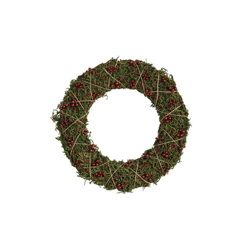 Christmas Market Green and Red Moss Wreath with Twine Garland and Wood Bead
