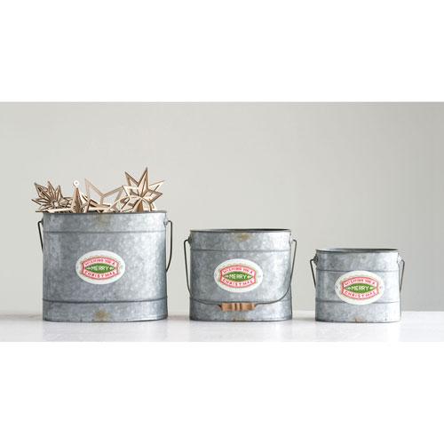 Good Tidings Gray Wishing You A Merry Christmas Stamp Metal Bucket with Wood Handle, Set of 3