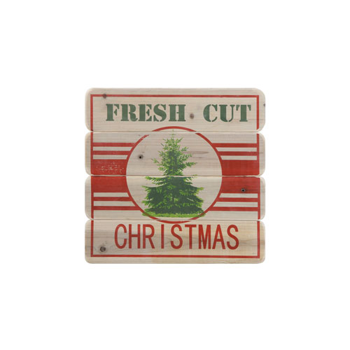 Country Christmas Red and Green Fresh Cut Christmas Wood Wall Decor
