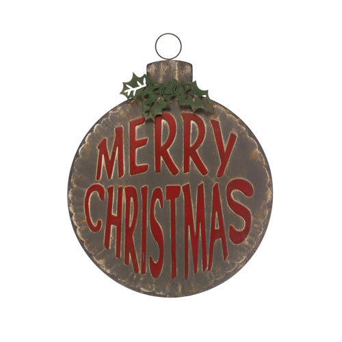 Country Christmas Distressed Green and Red Merry Christmas Ornament Shaped Wall Decor