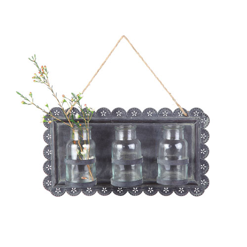 3R Studio Tin Wall Decor with Three Glass Vases