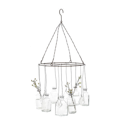 3R Studio Wire Hanging Glass Vases with Crystals