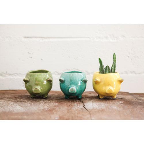 Assorted Terracotta Pig Planter, Set of Three
