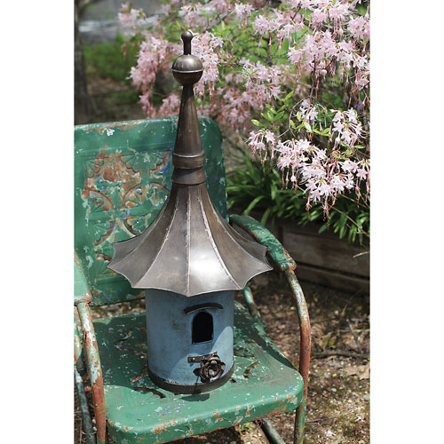 Blue and White Metal Birdhouse