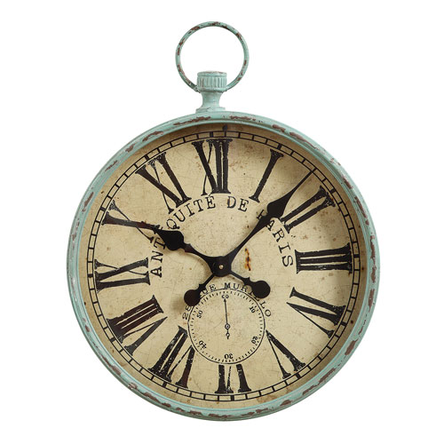 Aqua Iron Pocket Watch Wall Clock