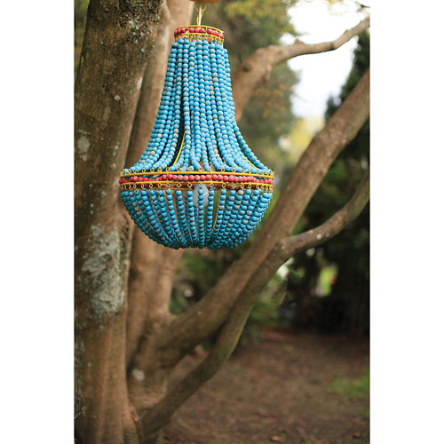Blue One-Light Wood Beaded Chandelier
