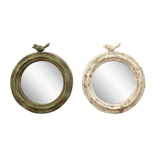 3R Studio Round Metal Framed Mirror with Bird, Set of Two