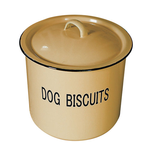 Dog Biscuits Round Enamel Metal Container with Lid