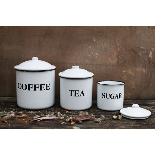Coffee Tea and Sugar Enamel Metal Container with Lid, Set of Three