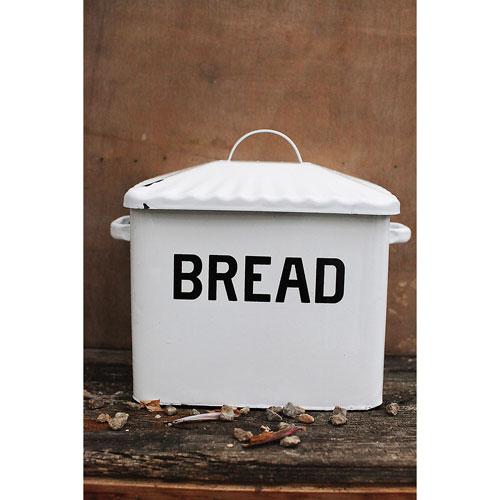 White Enameled Metal Bread Box