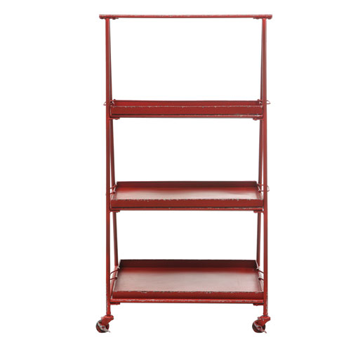 Red Metal Three-Tier Shelf on Casters