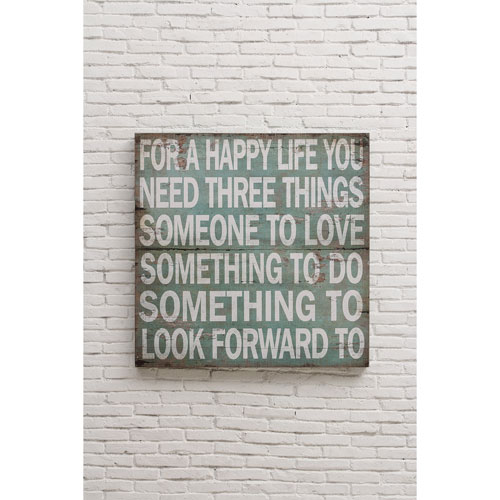 For A Happy Life 36 In. Square Wall Décor