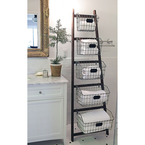 Wood Ladder with Wire Baskets