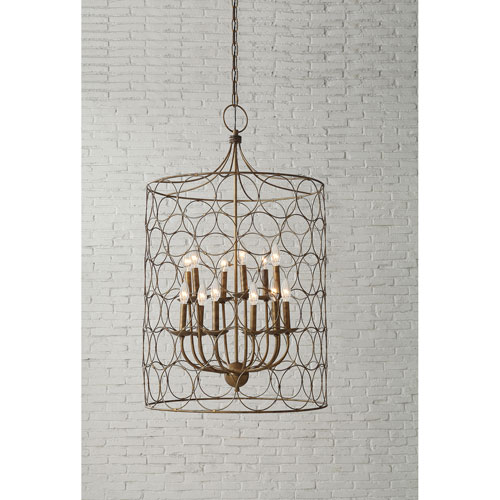 Gold Ten-Light Metal Chandelier with Circles