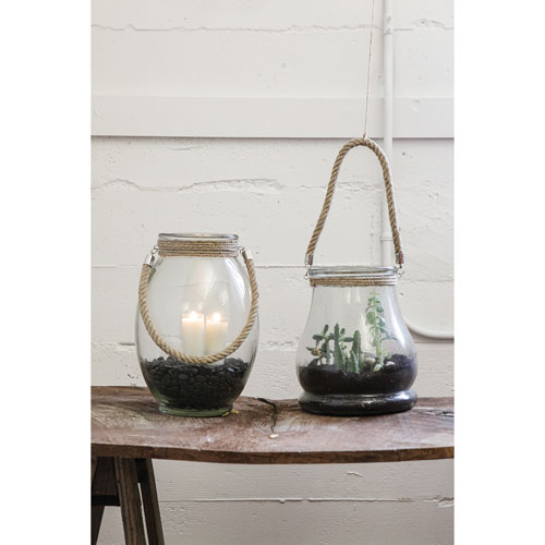 Glass Container with Rope Handle
