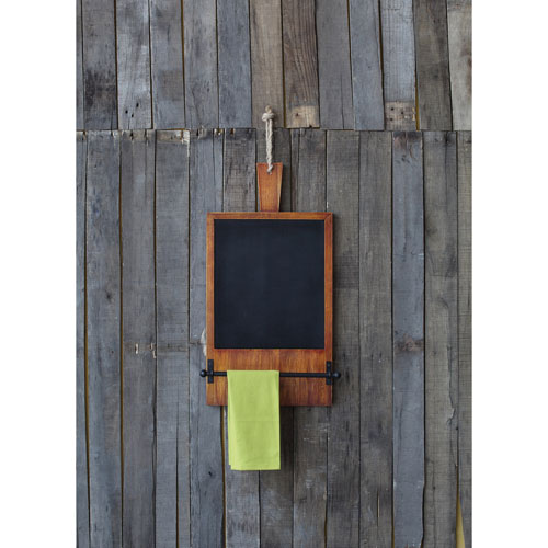 3R Studio Wood Bread Board Shaped Chalkboard with Towel Rack