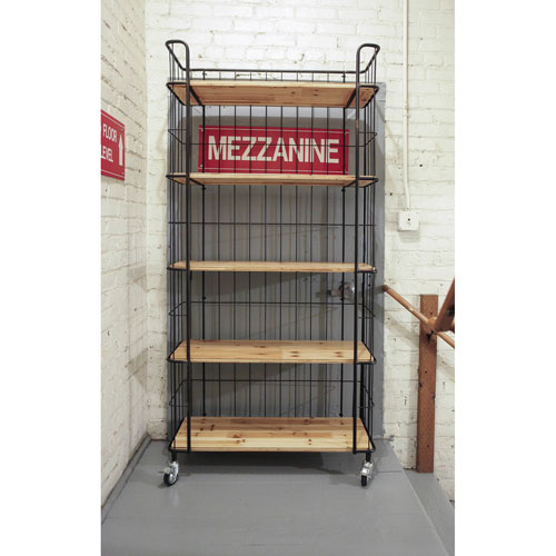 Wood and Metal Five-Tier Shelf with Casters