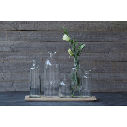 3R Studio Wood Tray with Five Glass Bottle Vases