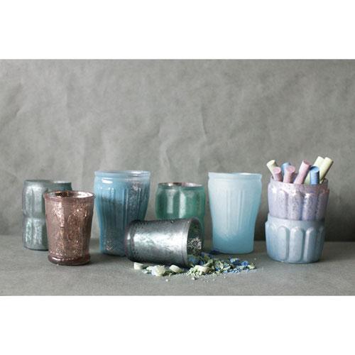 Blue Mercury Glass Votive Holders, Set of Eight