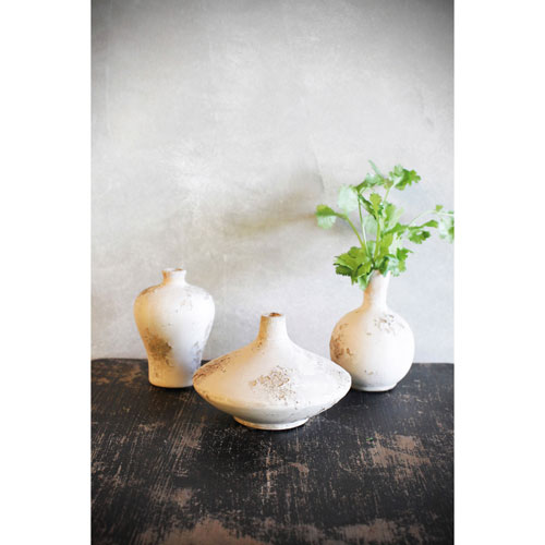 3r Studio Distress Antique Cream Terracotta Vases Set Of Three