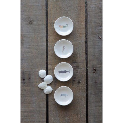 3R Studio Round Ceramic Dish with Sea Life Image, Set of Four