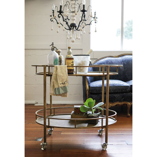 Gold Metal Oval Two-Tier Bar Cart on Casters