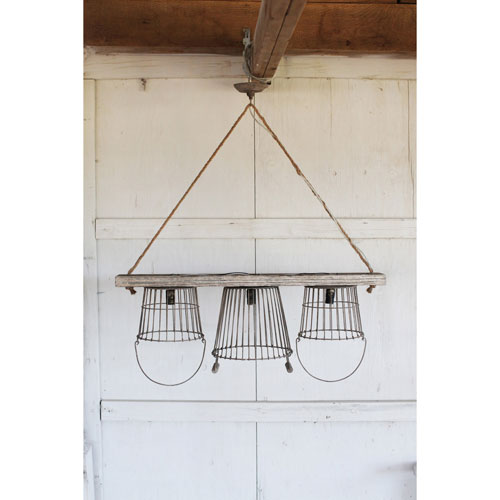Distressed White Three-Light Metal and Wood Basket Chandelier