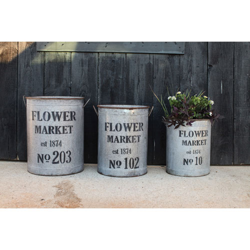 Flower Market Round Metal Buckets