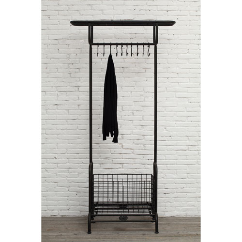 3R Studio Steele Gray Metal Rack with Nine Hooks
