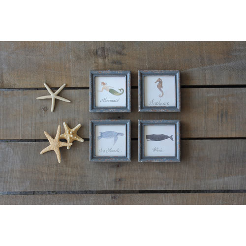3R Studio Sea Life 5 In. Wood Framed Wall Décor, Set of Four