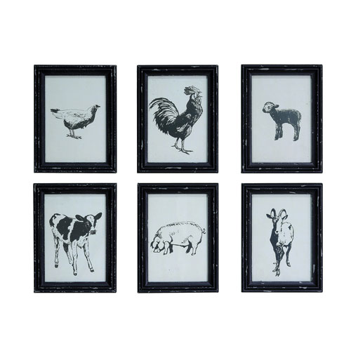 Black and White Farm Animal Wall Art with Wood Frame, Set of Six