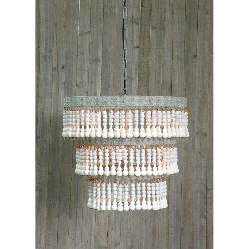 3R Studio White Three-Light Round Metal and Wood Beaded Chandelier