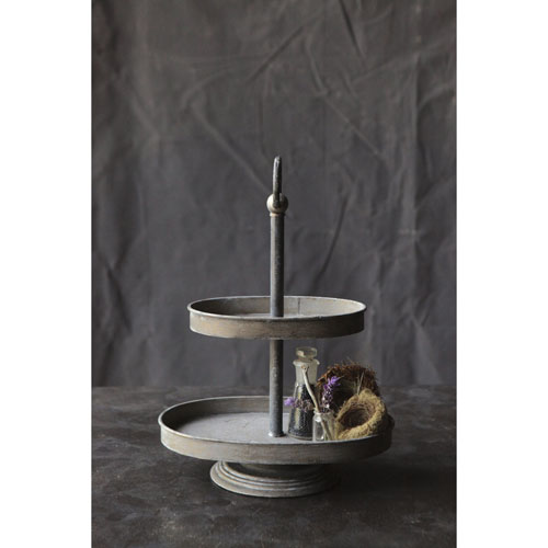3R Studio Zinc Metal Two-Tier Tray