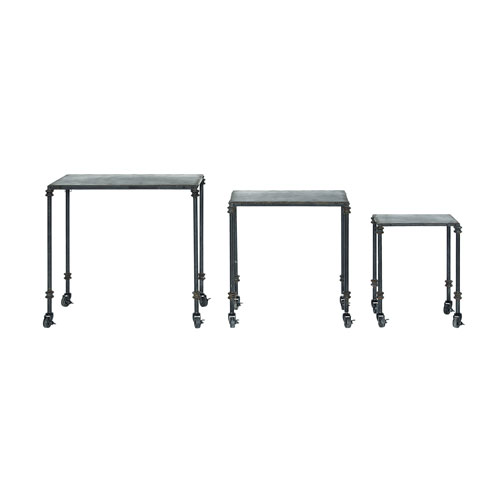 3R Studio Black Distressed Metal Nesting Tables on Casters