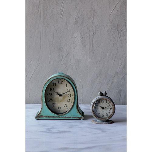 3R Studio Pewter Mantle Clock with Bird Grey