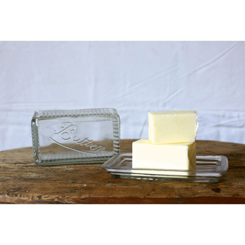 Clear Pressed Glass Butter Dish