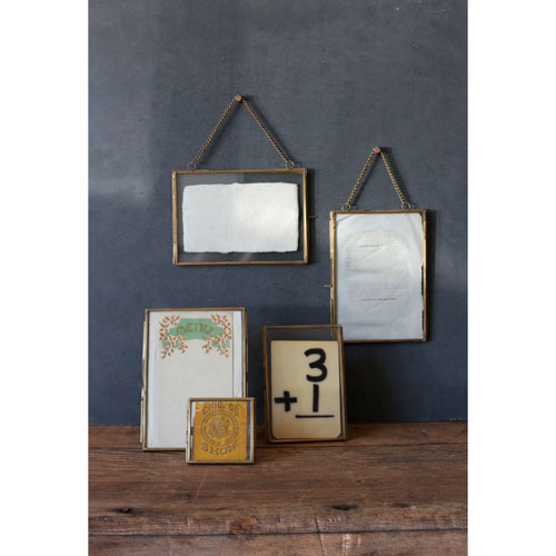 3R Studio Brass and Glass 5 x 7 In. Frame with Chain, Set of Two