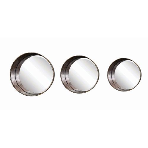 Round Metal Framed Mirrors, Set of Three