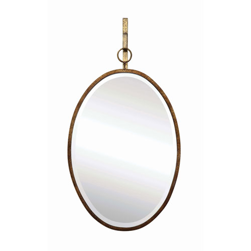 3R Studio Bronze Oval Metal Framed Wall Mirror with Bracket